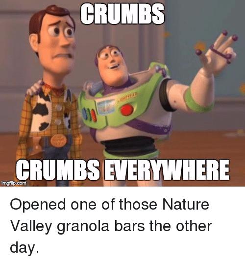 Crumbs Crumbs Everywhere Nature Valley Meme