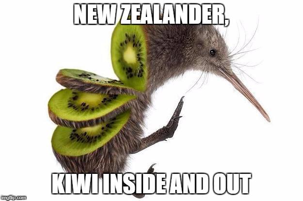 New Zealander Kiwi Inside Kiwifruit Meme