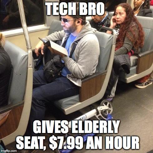 Tech Bro Gives Elberly Bro Meme