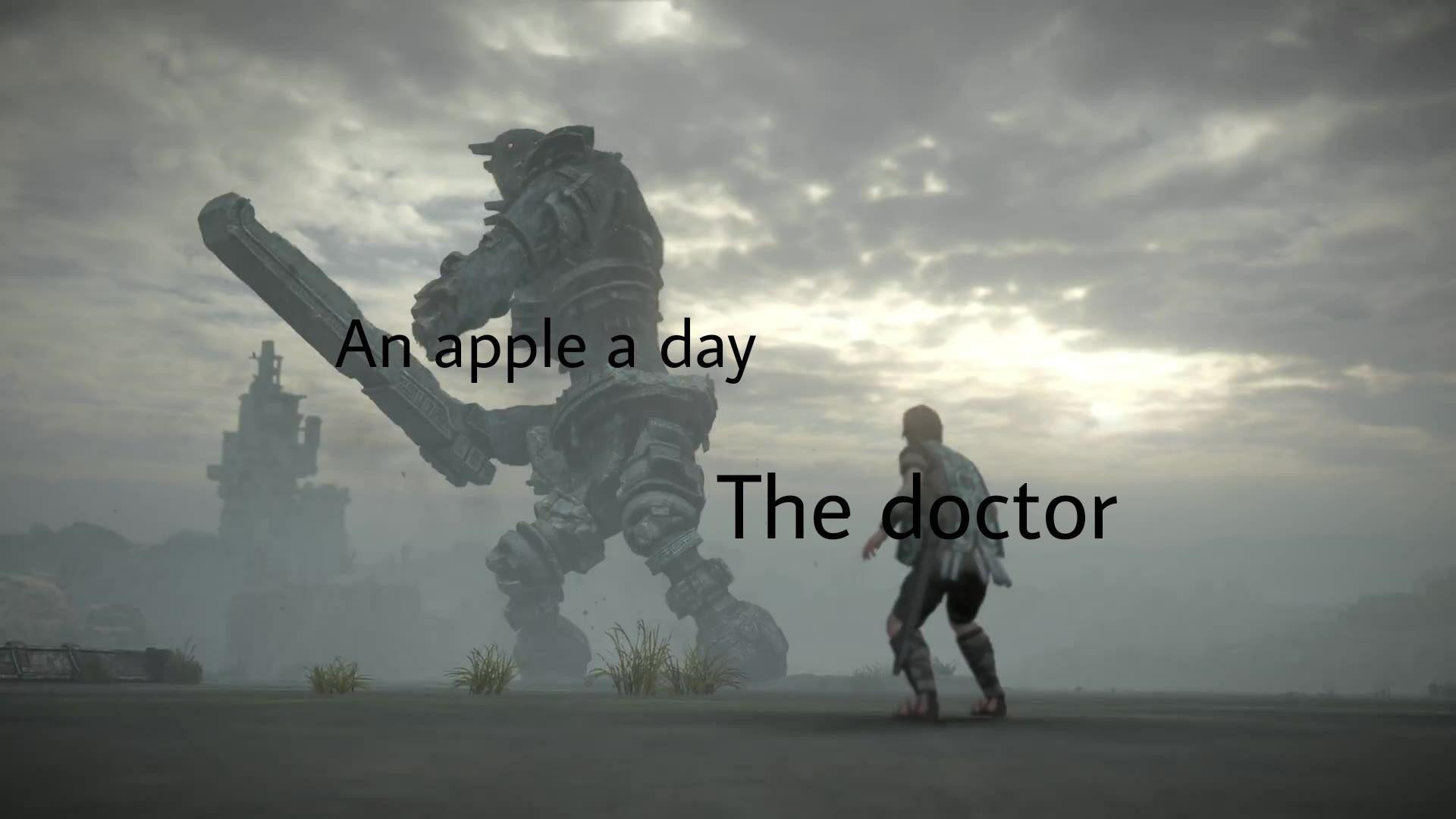 An Apple A Day Colossus Meme
