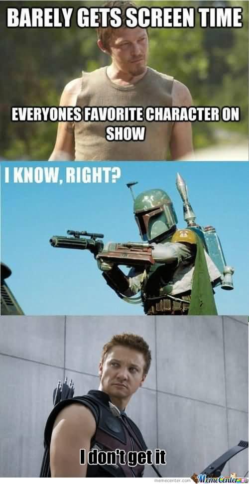 Barely Gets Screen Time Hawkeye Meme