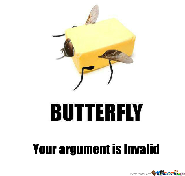 Butterfly Your Argumeny Is Invalid Butterfly Meme