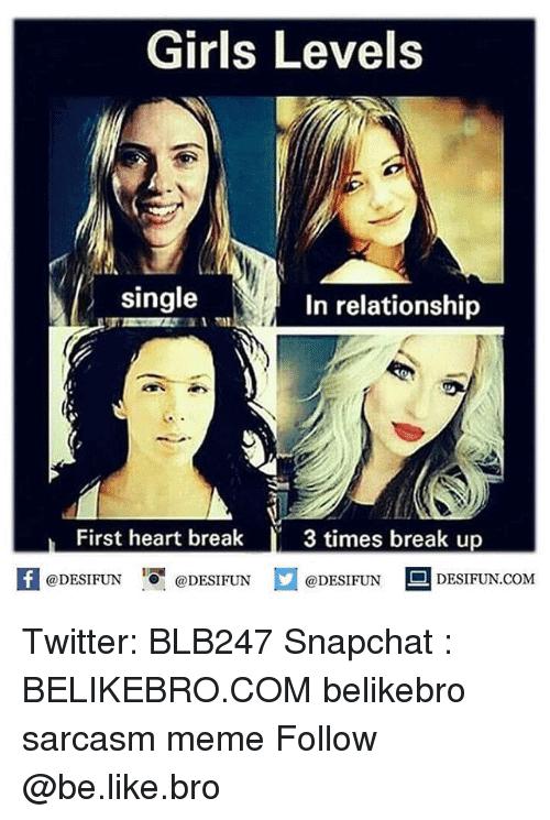 Girls Levels Single In Relationship Break up Meme