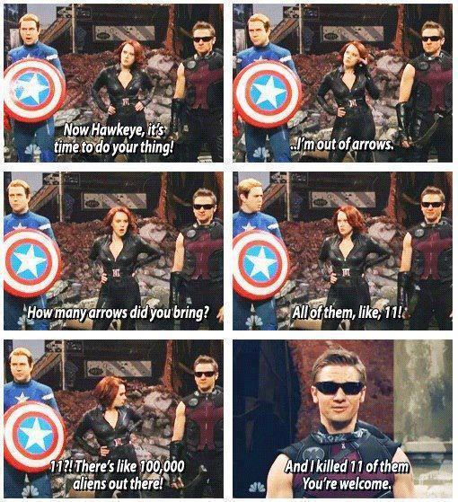 I'm Out Of Arrows Hawkeye Meme
