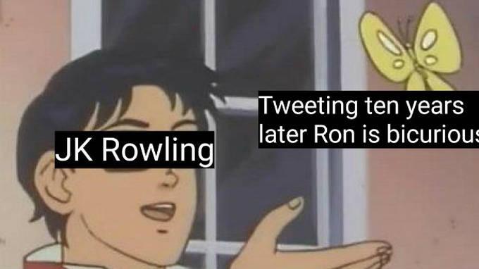 JK Rowling Tweeting Ten Years Butterfly Meme