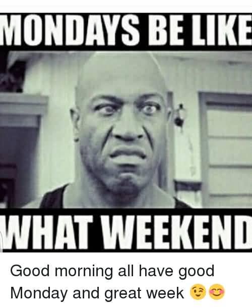 Mondays Be Like What Weekend Good Week Meme
