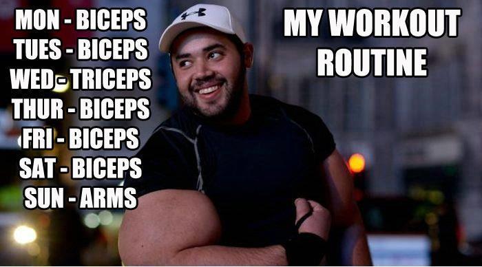 Mon Biceps My Workout Routine Bicep Day Meme
